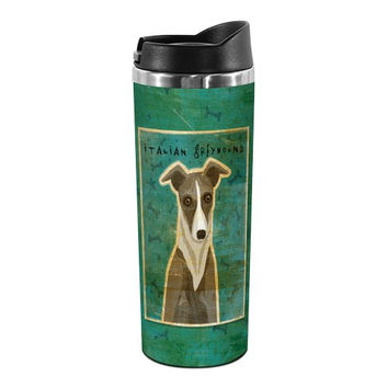 Tree-Free Greetings TT02076 John W. Golden 18-8 Double Wall Stainless Steel Artful Tumbler, 14-Ounce, White and Grey Italian Greyhound