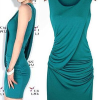 Blue Sleeveless Draped Ruched Bodycon Dress