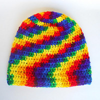 Toddler Rainbow Hat Infant Girl Cap Baby Boy Winter Beanie 2 To 5 Years Old Bright Colorful Red Blue Green Yellow Orange  Fall Skullcap