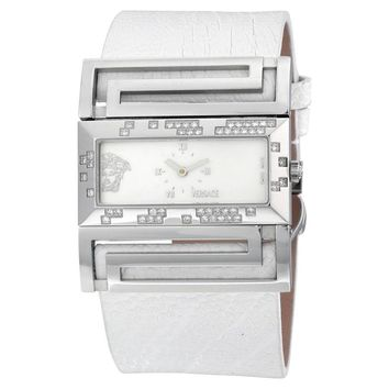 Versace Deauville Mother of Pearl Dial White Leather Diamond Ladies Watch