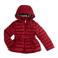 Janie Hooded Puffer Jacket, Dark Crimson, Size 4-14,