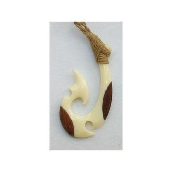 Bone and Wood Fish Hook Adjustable Rope Necklace