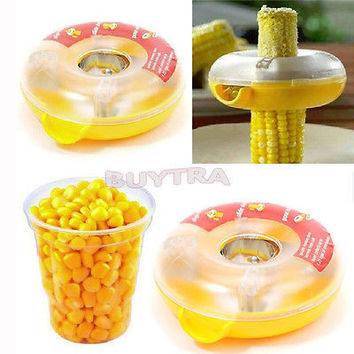 One-Step Corn Peeler Thresher Tool Kitchen Cob Kerneler Cutter Stripper Remover