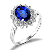 Blue Sapphire Kate Middleton's Princess Engagement Ring 925 Sterling Silver