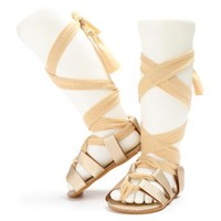 Girls Soft-Soled Wrap-Up Sandals (Multiple Colors)