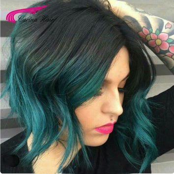 8A Grade Malaysian Virgin Human Hair ombre blue Hair full lace wigs for black women short Hair front lace wigs with baby hair