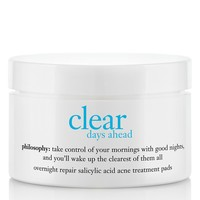 clear days ahead | overnight repair salicylic acid acne treatment pads | philosophy treat