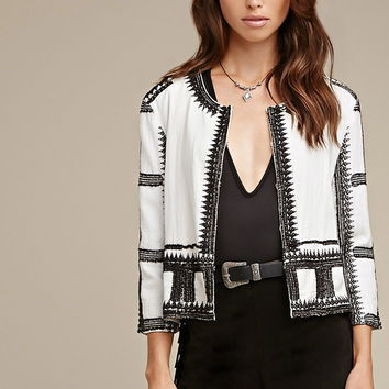 Embroidered Collarless Jacket | Forever 21 - 2000164232