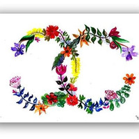 Chanel logo, whimsical floral, coco Watercolor illustration,  print, fashion, beauty, wall decal, poster decor, decals art, girly, artwork