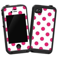 "Raspberry Polka Dot on White ""Protective Decal Skin"" for LifeProof iPhone 4/4s Case"