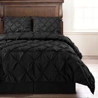 "Emerson - Black 4 Piece Comforter Set, Queen 90"" X 92"""