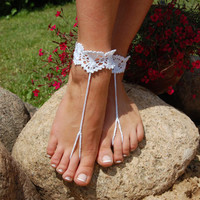 Crochet Beach Wedding Shoes, Crochet Barefoot Sandals, Wedding Accessory, Nude Shoes, Bridal shoes