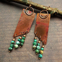 Geometric Funky Rustic Oxidized Coppper and Turquoise Dangle Earrings