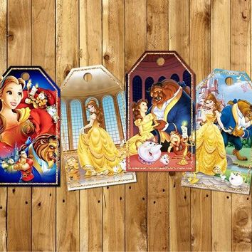 Beauty And The Beast Thank You Tags Labels Gift Favors Birthday Party Decorations Kids Party Supplies Candy Bag Box Labels