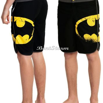 Licensed cool NEW DC  DISTRESSED BATMAN LOGO Design Mens Board Shorts Swim Trunks Medium