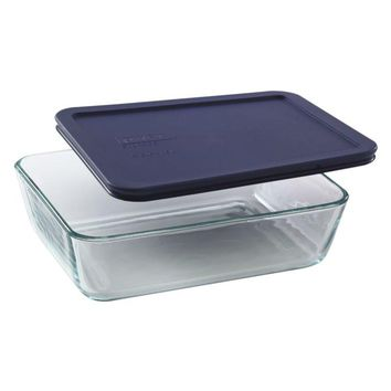 Pyrex® 6017396 Storage Rectangle Dish with Blue Lid, Clear Glass, 6 Cup