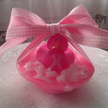 Set of 2 Handmade Breast Cancer Awareness Soap Duck Pond