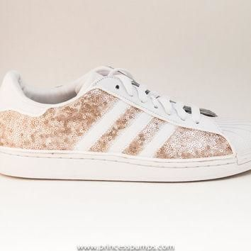 Champagne Gold Sequin Adidas Superstars II Fashion Sneakers Shoes