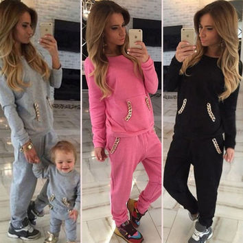Womens Ladies Chain TRACKSUIT Pull Over Hooded top Full Length Bottom Sizes 6-14 = 5710887233