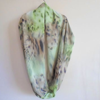 Infinity Scarf, Greeny loop scarf, Limited edition, leopard print, chiffon fabric, Neckwarmer, Timeless, scarves, soft colors, winter outfit