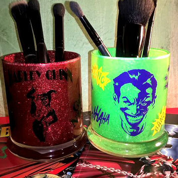 2PC set Harley Quinn &  Joker Comic Makeup Brush Holders