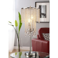 ETHAN HOME Crystal Rain 3-light Chrome Crystal Table Lamp | Overstock.com