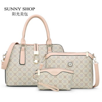 SUNNY SHOP3 Bag Set New Mother Handbag Brand Designer Women Bag Letter Striped Fashion Femal Bags Shoulder Bags Gift For Mother