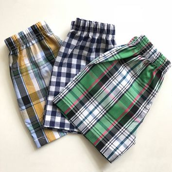 2018 New Fashion Kids Clothing Baby Boys Cotton Shorts Striped Plaid Children Pants Teenagers Beach Loose Shorts 1-5 Year