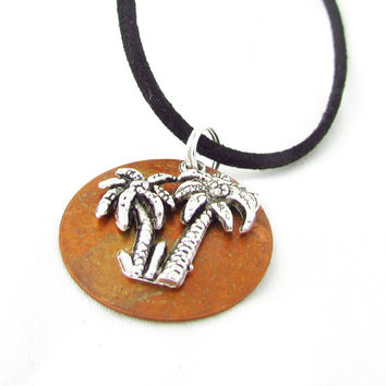 Palm Tree Necklace, Copper and Silver Pendant Necklace, Black Cord and Copper Necklace