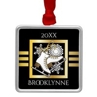 Ice Skating Black Gold Girly Modern Holiday Metal Ornament
