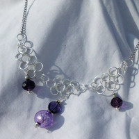"Purple Faux Gem, Twisted Chain Necklace, ""Suzette"""