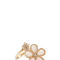 FOREVER 21 Adjustable Floral Cocktail Ring Gold/Nude