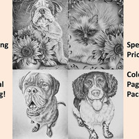 Printable coloring page, Adult Coloring Page, Instant download coloring, Dog and Cat Combo coloring page, adult coloring book, coloring page