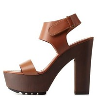 Tan Single Strap Wooden Platform Heels by Charlotte Russe