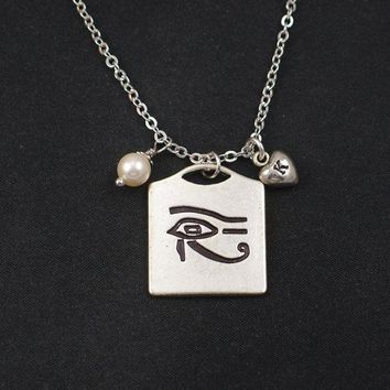 Eye of Horus necklace, sterling silver filled, initial necklace, Swarovski pearl choice,