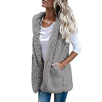 TOOPOOT Womens Cardigan with Pockets, Lapel Open Front Sleeveless Vest