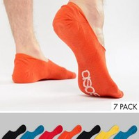 ASOS Invisible Liner Socks In Retro Colours With Branded Soles 7 Pack at asos.com