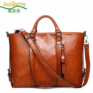 2015 New Fashion Genuine Leather bags Tote Women Leather Handbags Women Messenger Bags Shoulder Bags Hot Vintage bags popular