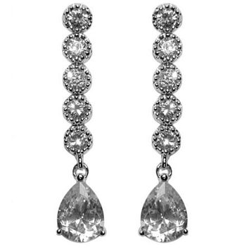 Paige Pear Drop Linear Earrings | 4.5ct | Cubic Zirconia | Silver