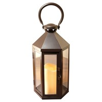 Metal Lantern with Battery Operated LED Candle- Warm Black Hexagon