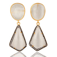 Handmade 925 Sterling Silver White Moonstone & White Zircon Designer Earrings