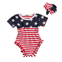 Baby Newborn 1 Year Clothes Flag Printing Baby Romper Summer Short Sleeves NB Boys NB Girls Clothing Overalls Bebe Clothes