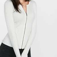 Ribbed Zip-front Cardigan from EXPRESS
