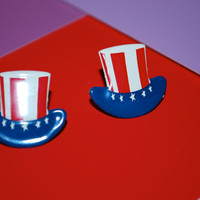 4th of July Earrings -- Studs, Independence Day Earrings, Red, White and Blue Hats