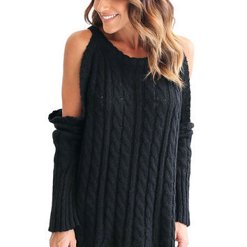 Daring Cold Shoulder Cable Knit Sweater