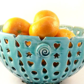 Decorative Ceramic Blue Fruit Bowl - Perforations, Cut-outs  Pattern -  Collectible Decorative Art Vessel Kitchen Serving - SHIPS TODAY -