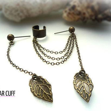EAR CUFF - Simple Leaf Ear Cuff - Extra Stud With Chain And Leaf - Antique Bronze