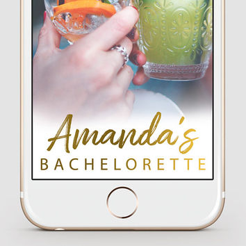 Bachelorette Party Snapchat Geofilter   Gold Script Snapchat Geofilter   Custom Snapchat Filter   Bride Tribe