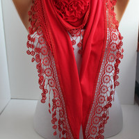 NEW- Mother's Day Gift Red Cotton Rose Shawl/ Scarf - Headband -Cowl with Lace Edge -