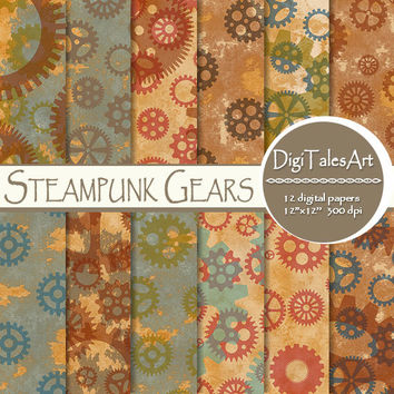 "Steampunk digital paper ""Steampunk Gears"" digital clipart papers, gears patterns, steampunk background, grunge background, old paper"
